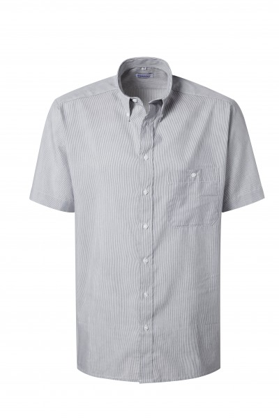 Pionier Business Herren Hemd 1/2 Arm grau/weiß fein gestreift 99170