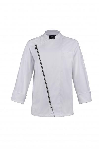 Hiza Cotton Relax Zipper-Stretchkochjacke weiss 554151