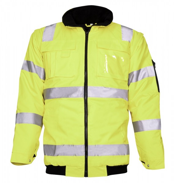 Ardon Howard Reflex Arbeitsjacke Wasserdichte Herren Warnschutzjacke mit abnehmbarer Kapuze und Ärme