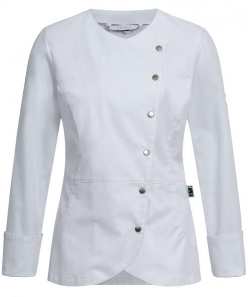 Greiff Cuisine PREMIUM Damen- Kochjacke Asymetrisch weiß/ Blue Denim RF G5414