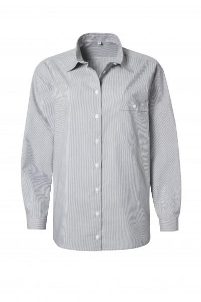 Pionier Business Damen Bluse 1/1 Arm grau/weiß fein gestreift 99660